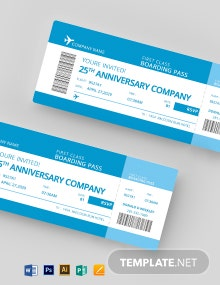 Plane Boarding Pass Invitation Template