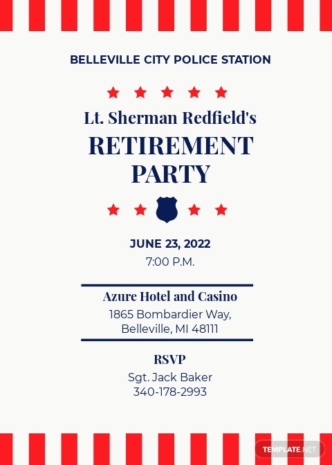 Police Retirement Party Invitation Template