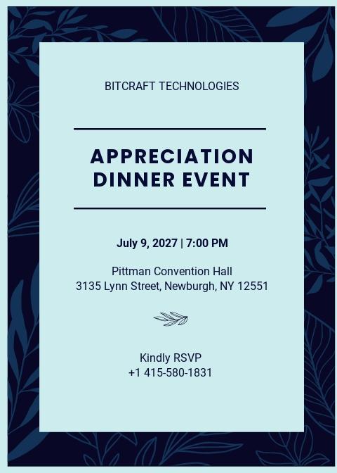 Printable Appreciation Dinner Invitation Template