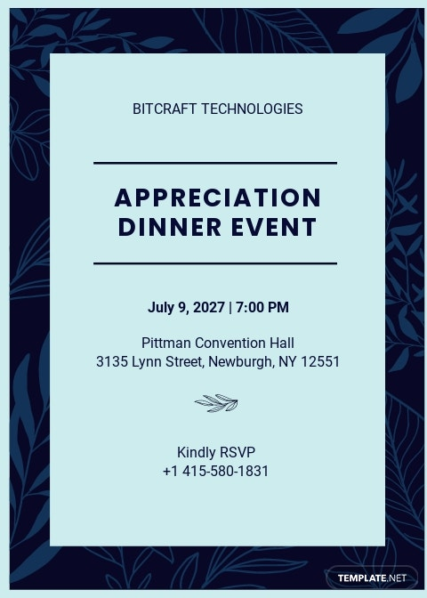 Printable Appreciation Dinner Invitation Template