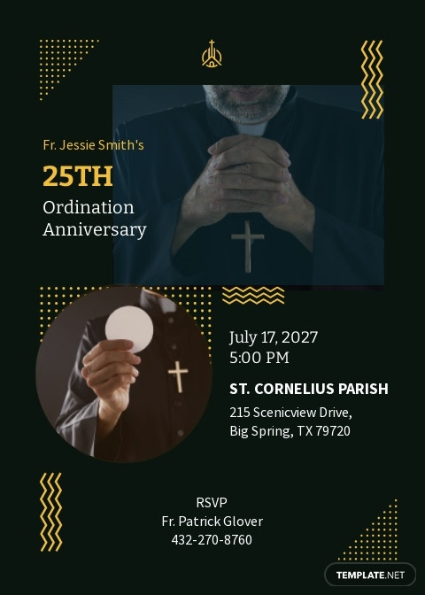 Priestly Ordination Anniversary 25 Years Invitation Template