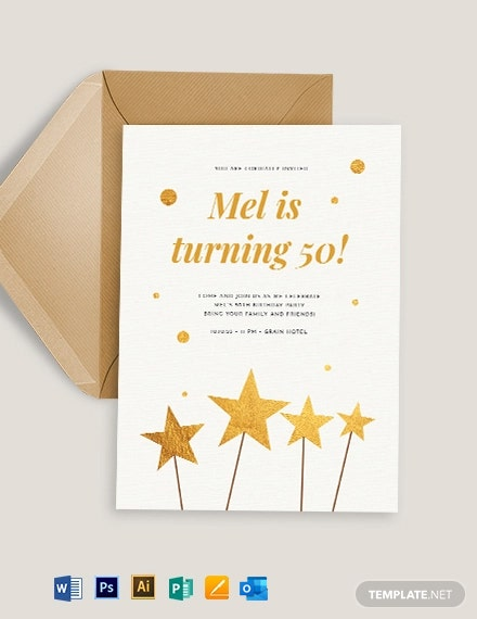 Printable Birthday Card Invitation Template