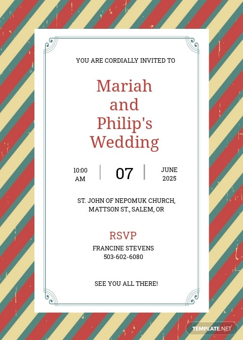 Printable Retro Marriage Invitation Template
