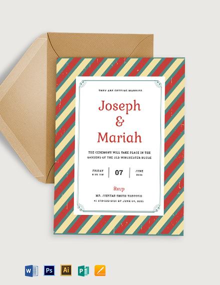 Printable Retro Marriage Invitation Template