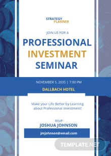 Professional Investment Seminar Invitation Template