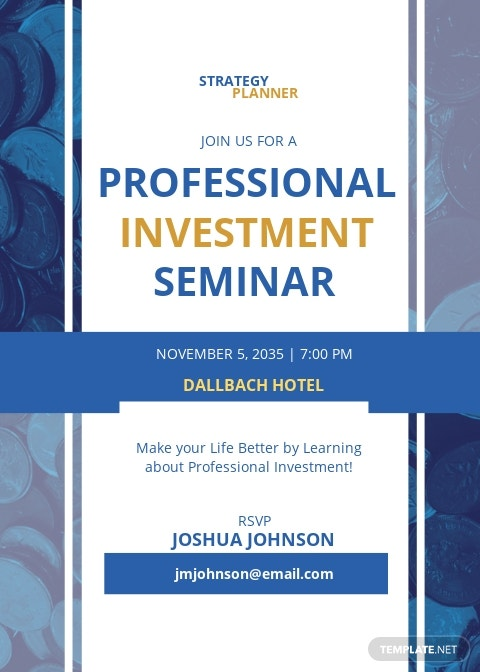 Professional Investment Seminar Invitation Template