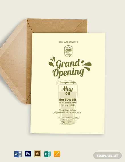 Pub Opening Invitation Template