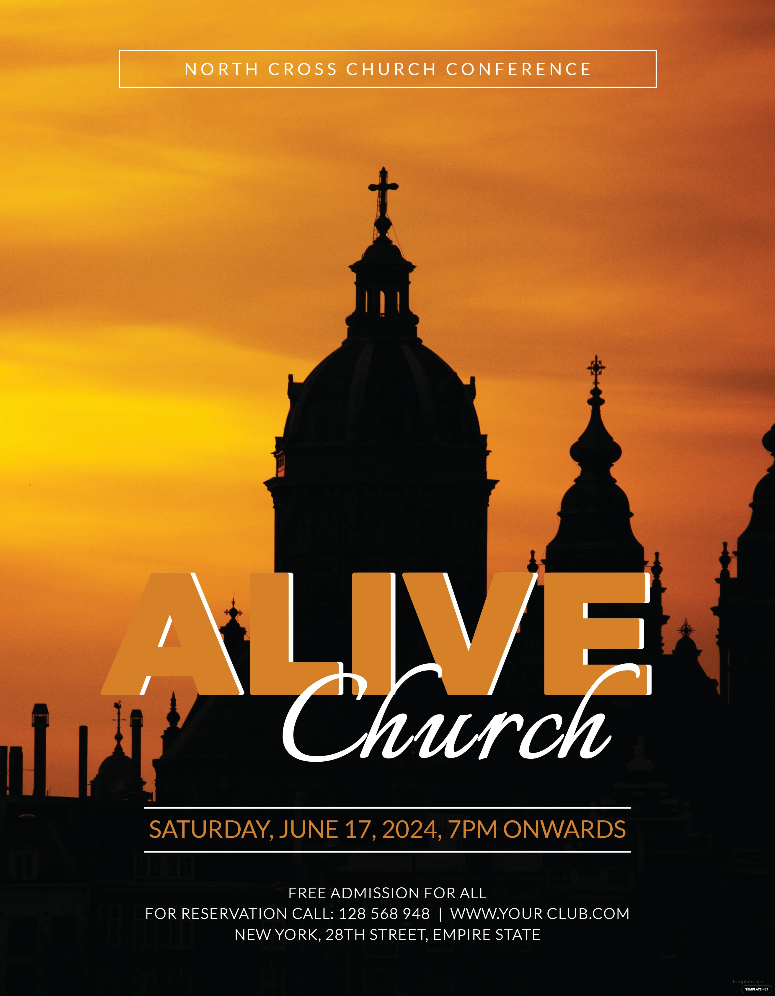 free alive church conference flyer template adobe