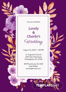 Purple Wedding Invitation Template