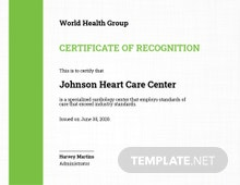 Health Care Certificate Template