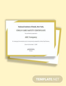 Child Care Safety Certificate Template