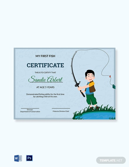 First Fish Kid Certificate Template