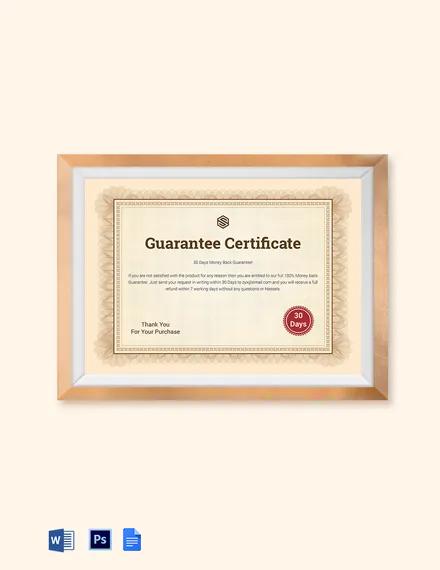 Guarantee Certificate Template