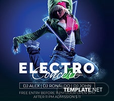 Free Electro Concert Flyer Template