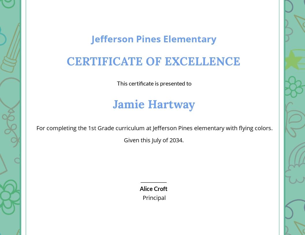 School Kids Diploma Certificate Template