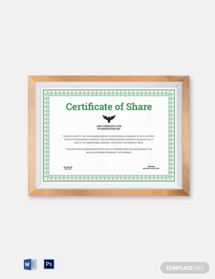 printable share certificate