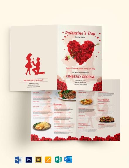 Free Valentine's Day Bi-Fold Menu Template