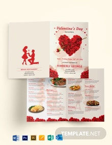 Valentine's Day Bi-Fold Menu Template
