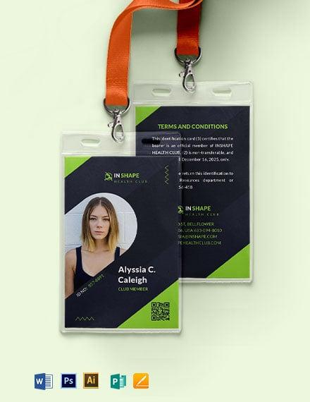 Health Club ID Card Template