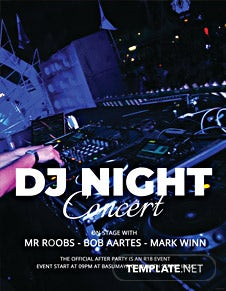 Free DJ Night Concert Flyer Template