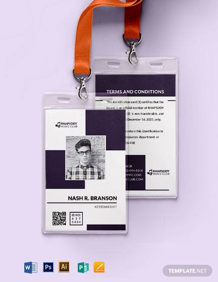 Printable Club ID Card Template