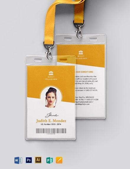 Vertical School ID Card Template