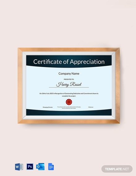 Appreciation Certificate to Employee Template