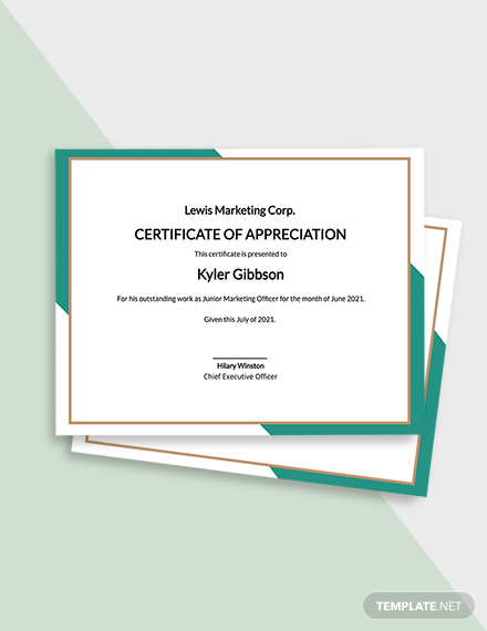 Appreciation Certificate to Employee Template
