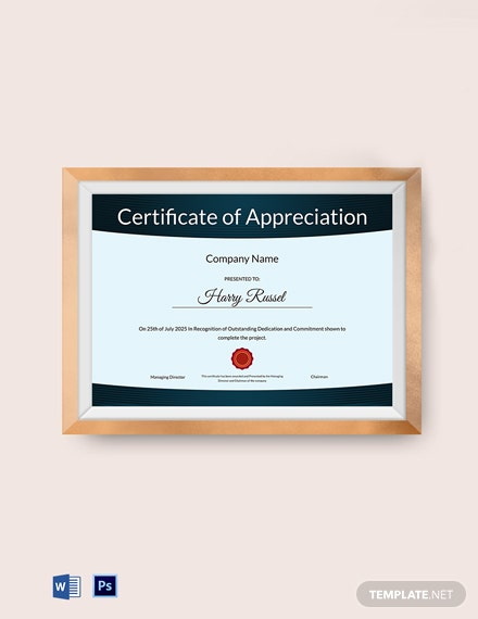 appreciation certificate to employee