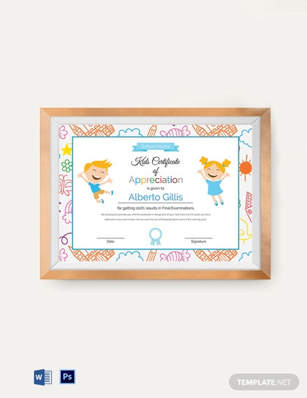 kids certificate of appreciation