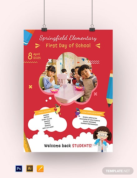 First Day of School Poster Template