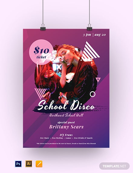 School Disco Poster Template