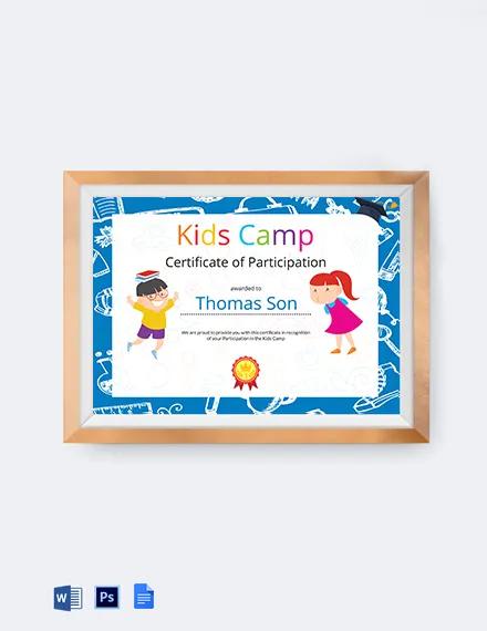 Kids Participation Certificate Template