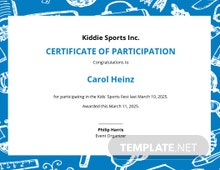 Kids Participation Certificate Template