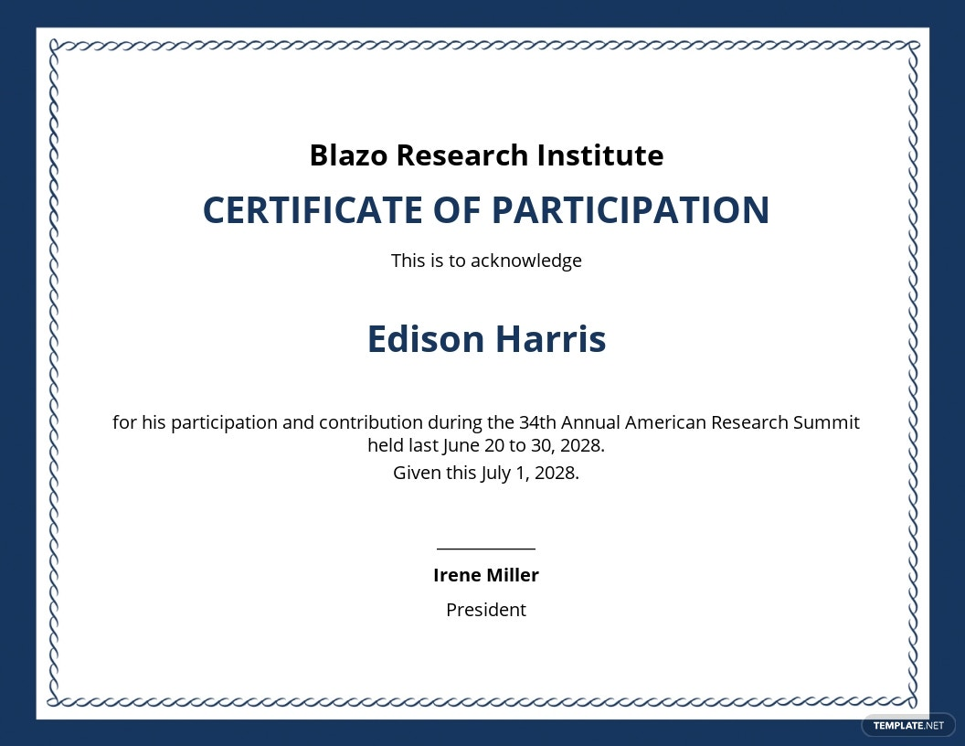 Research Participation Certificate Template
