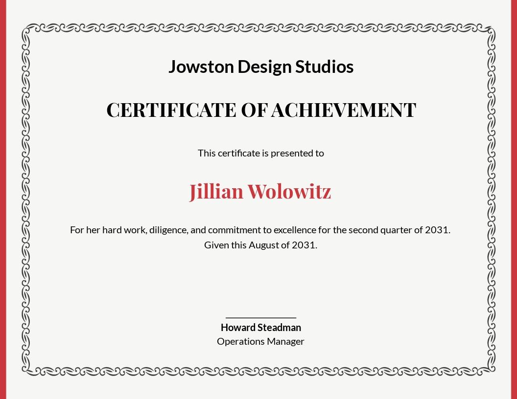 Professional Certificate of Achievement Template