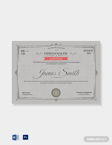 Professional Certificate of Achievement Template