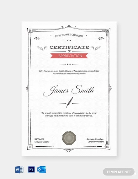 Professional Certification of Appreciation Template