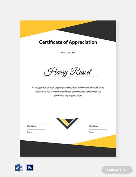 Editable Employee Appreciation Certificate