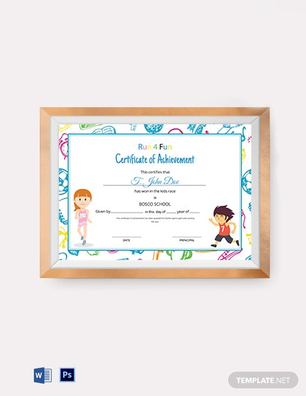 Kids Race Achievement Certificate Template