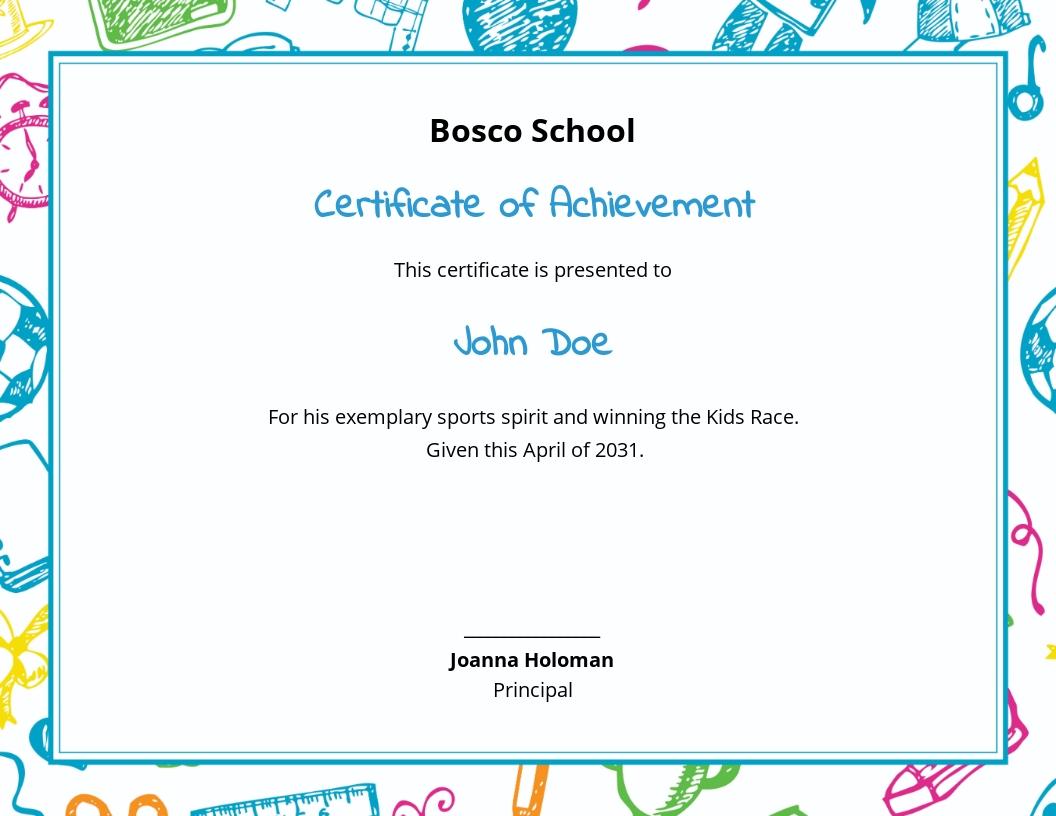 Kids Race Achievement Certificate Template
