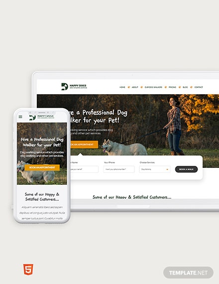Dog Walker Bootstrap Landing Page Template