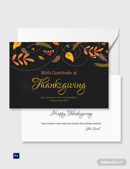 Business Thanksgiving Greeting Card Template