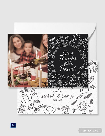 Family Thanksgiving Greeting Card Template