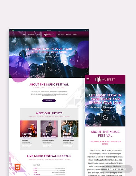 Music Festival Bootstrap Landing Page Template