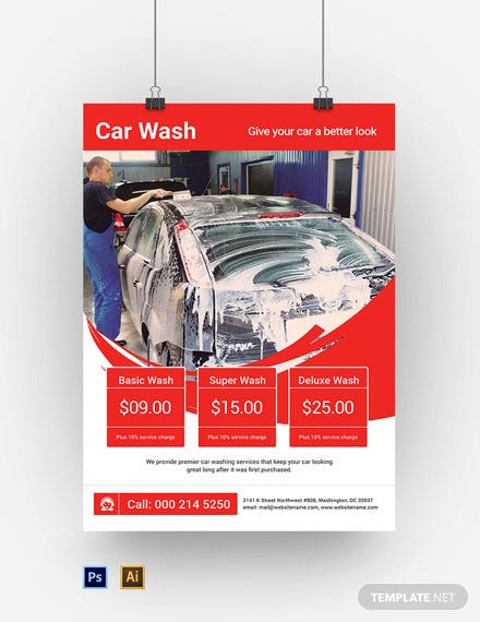 Car Wash A3 Poster Template