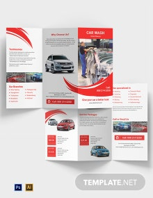 Car Wash A3 Tri-Fold Brochure Template
