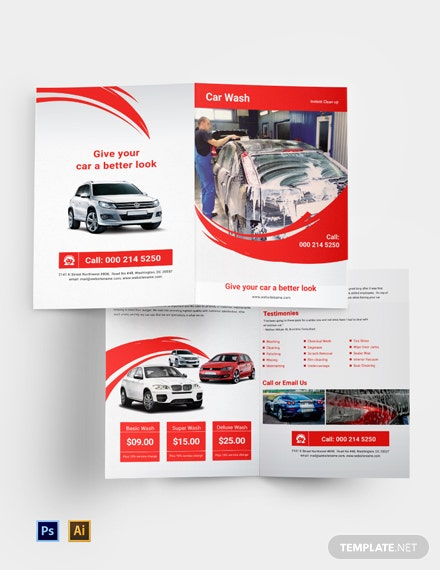 Car Wash A4 Bi Fold Brochure Template