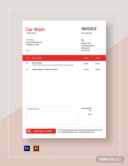 Car Wash Service Invoice Template