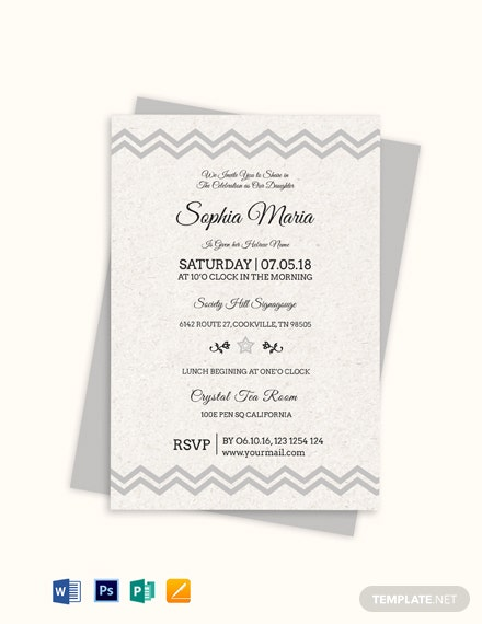 Born Naming Ceremony Invitation Template